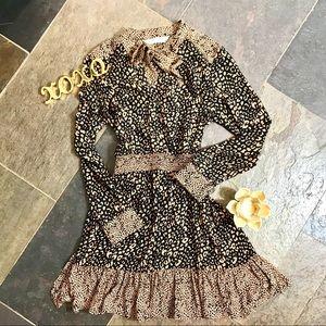 Zara Denim Leopard Print Peasant Dress
